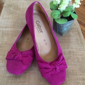 Gabor Suede Leather Pink Flats Sz 5